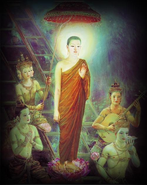 The Enlightened Buddha Decends to the Dawadeungsa Heaven