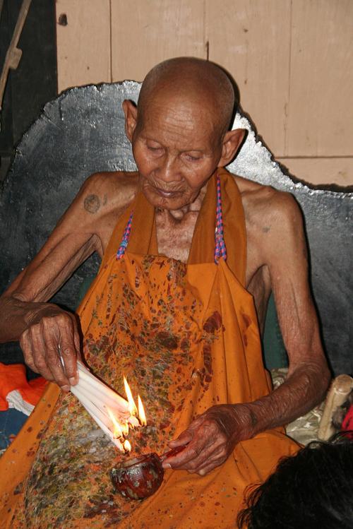 Luang Phu Nong performing a Fire Kasina Sorcery