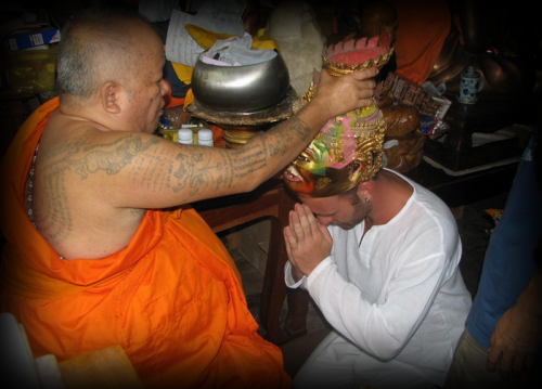 Luang Pi Dting of Wat Bang Pra Temple always performs the Korn Siarn Ceremony one day before the Wai Kroo.