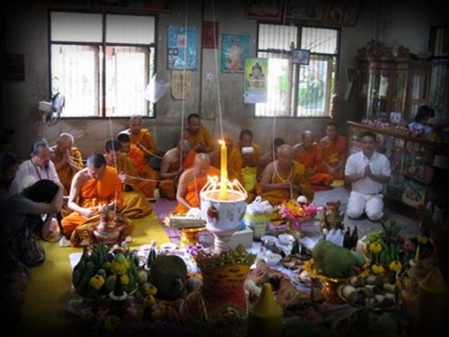 Wai Kroo Ceremony Preliminaries at Wat Bang Pra - The Monks Perform the Initial Opening Ceremony and Offerings